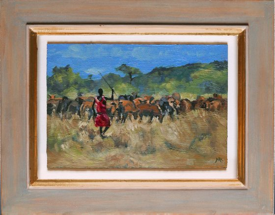 Masai Herder with cattle