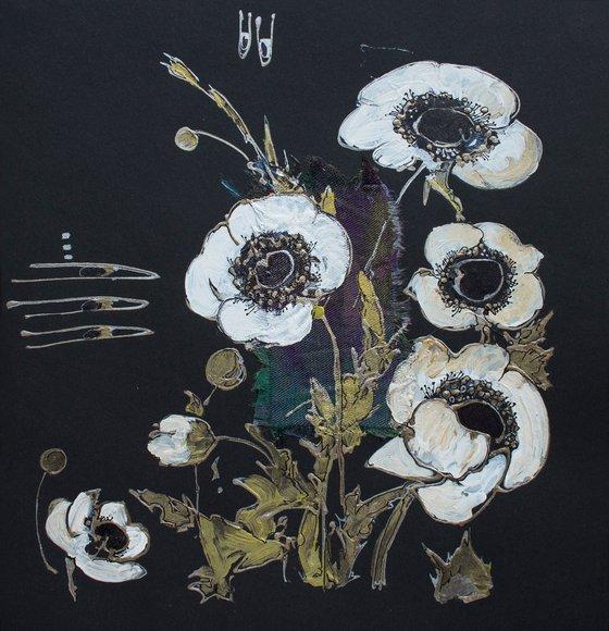 White anemones in the night garden (White anemones on black)