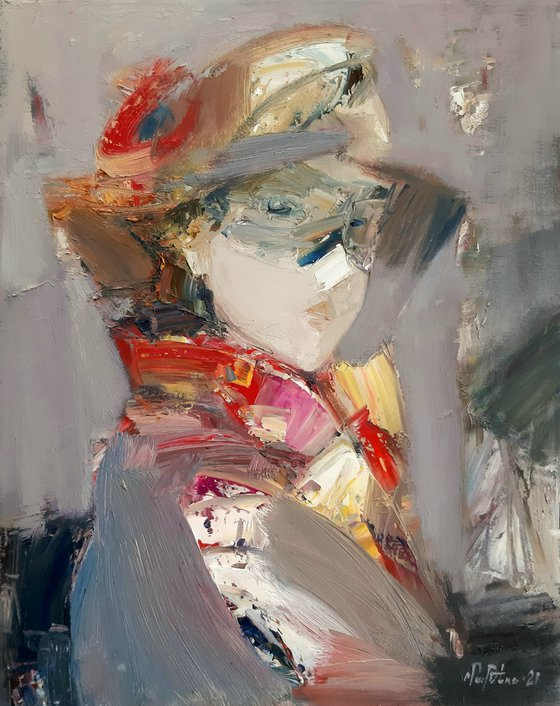 Miss X 40x50cm ,oil/canvas, abstract portrait