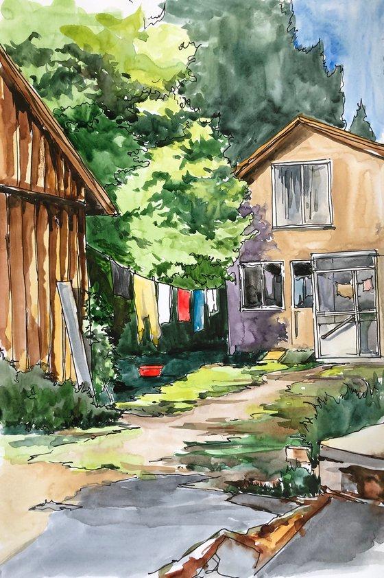 Yard. Sketch