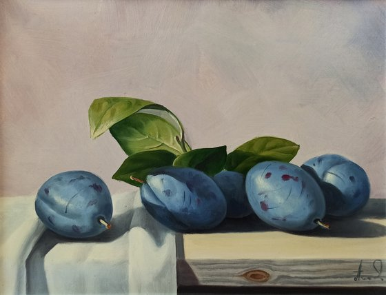 Still life with plums-6 (24x30cm, oil painting, ready to hang)