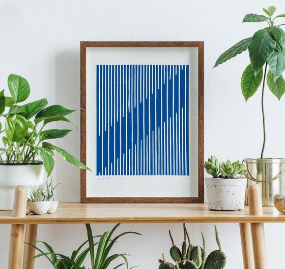 Parallel (Blue Geometric Linocut Print)