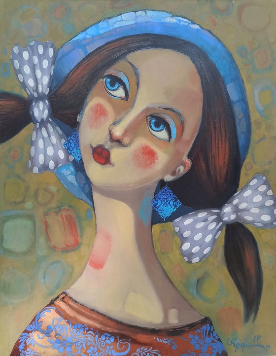 Dreaming girl (50x60cm, oil/canvas, ready to hang)