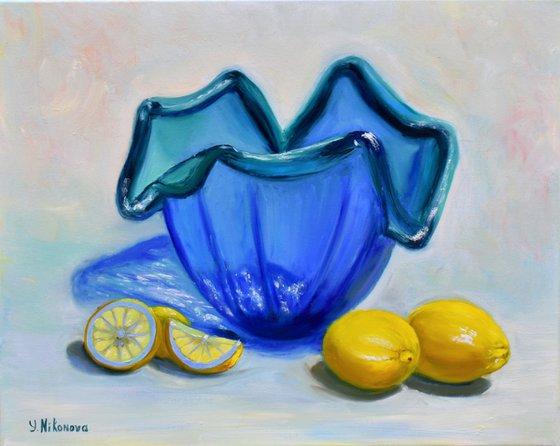 Lemons and a Blue Vase