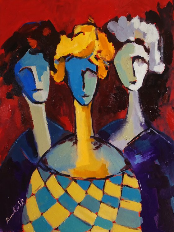 Abstract-portraits (50x70cm, oil painting, ready to hang)