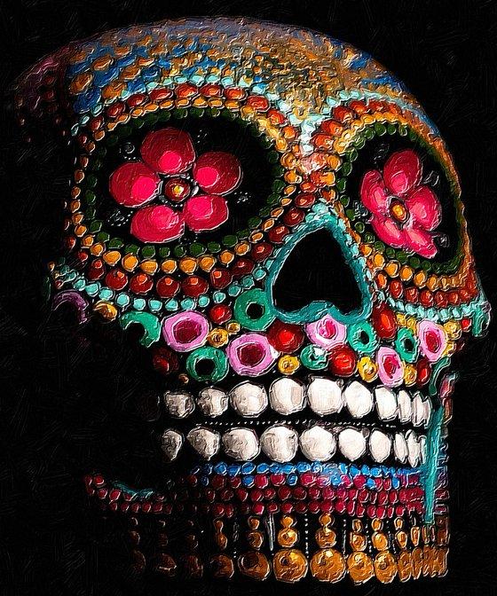 Sugar Skull Pattern Head Face Mayan Mexico