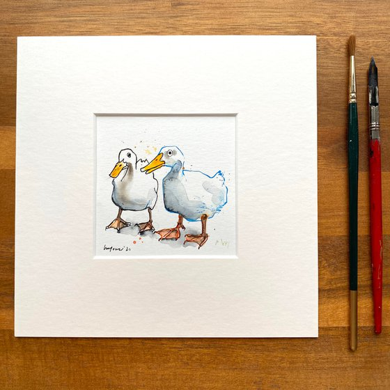 ' Duck Mates #01' - mini painting of two white ducks