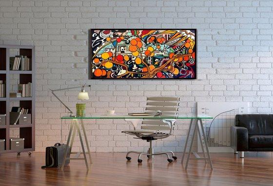 Orange cityscape #4 - original acrylic on edged canvas - pop abstraction 80 x 40 cm  (31' x 16' )