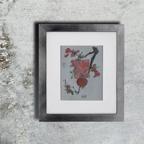 Pomegranate branch on silver