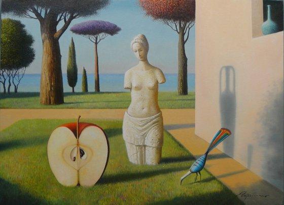 "In The Garden, 22""x30"", oil"