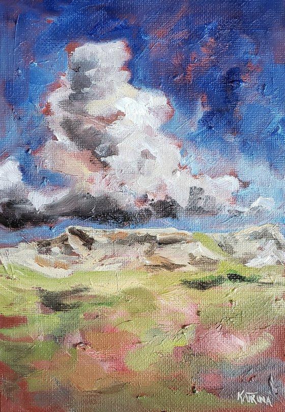 """Thunderhead Over Sentinel Butte"" - Landscape - Mountains"