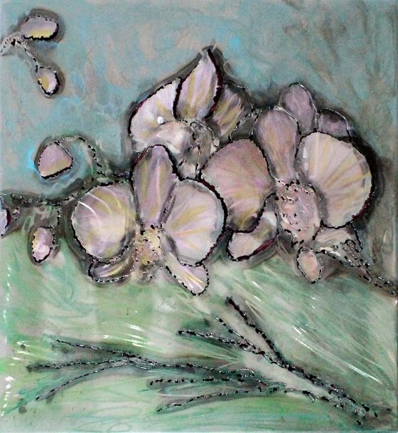 Orchid painting Wall Sculpture steel painting and inks