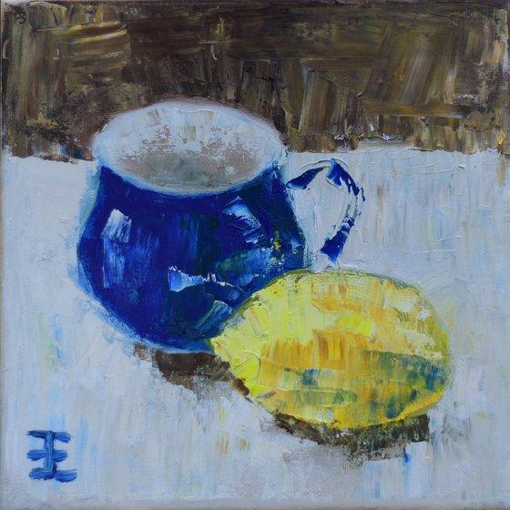 Blue cup- yellow lemon - sketch