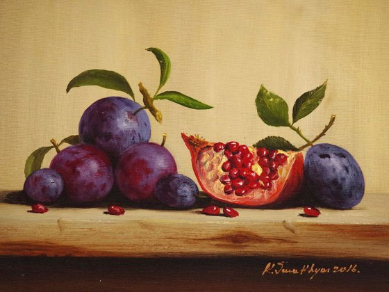 Still Life with Plums, Fruits, Pomegranate, Original oil Painting, Classic Art, Handmade painting, signed