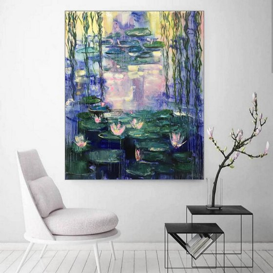 Water lilies Painting, Original Art Water lilies, Giverny, Claude Monet Painting, Floral Art Impasto , Abstract Landscape, Painting Flower