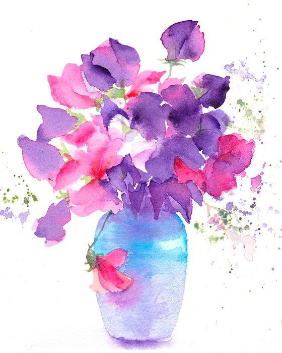 Sweet pea flowers, original watercolour painting