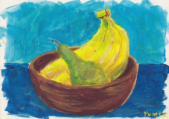 Still life with bananas and a pear2