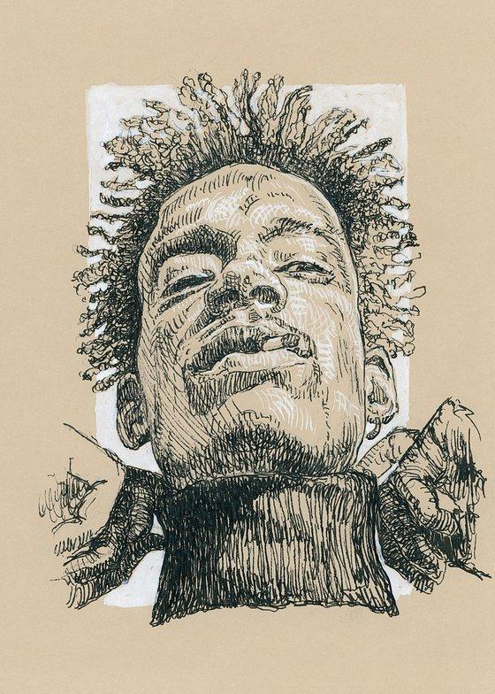 Dreadlock man portrait. Cross hatch drawing