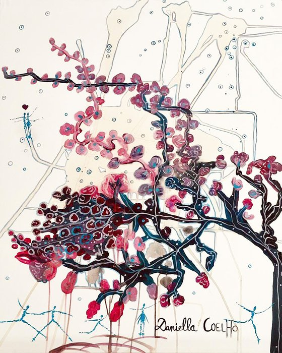 Arbre de vie en fleurs et acrobates