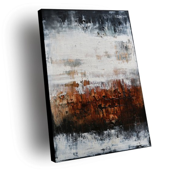 GRAVITY - ABSTRACT ACRYLIC PAINTING TEXTURED * BLACK * WHITE * BROWN