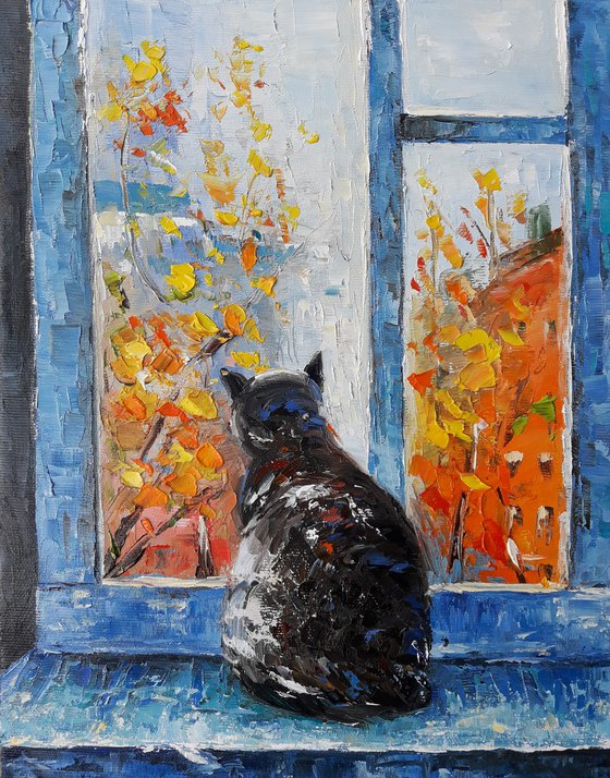 Cat(24x30cm, oil painting, ready to hang)
