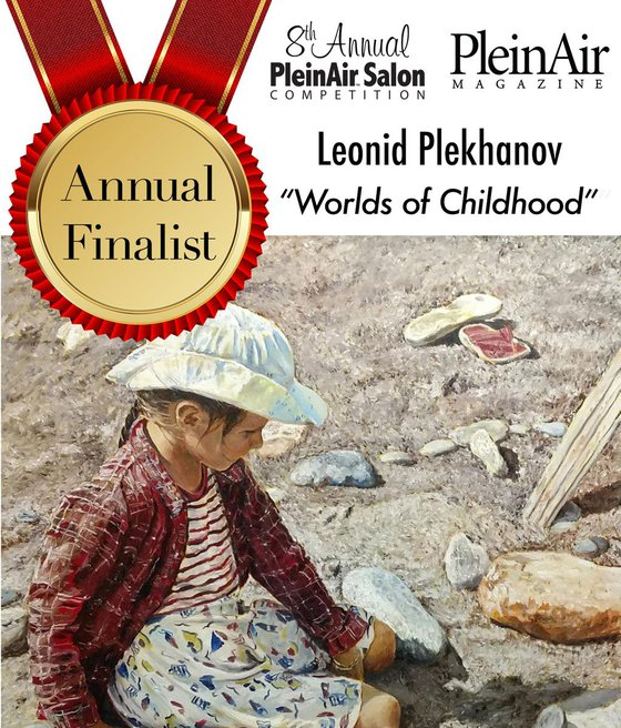 Worlds of childhood - figurative award-winning painting - child portrait among stones, sand, dry grass, and play of shadows and light
