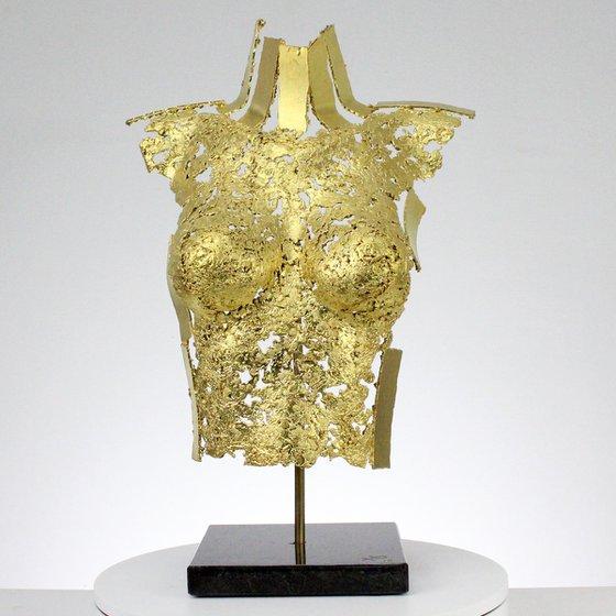 Belisama Jocaste - Sculpture bust woman lace bronze and gold leaves