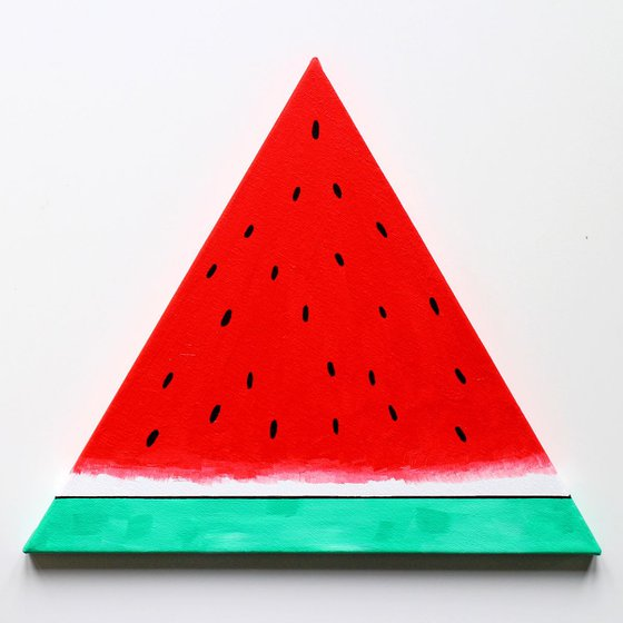 Watermelon Segment Pop Art Acrylic Painting On TRIANGLE Canvas