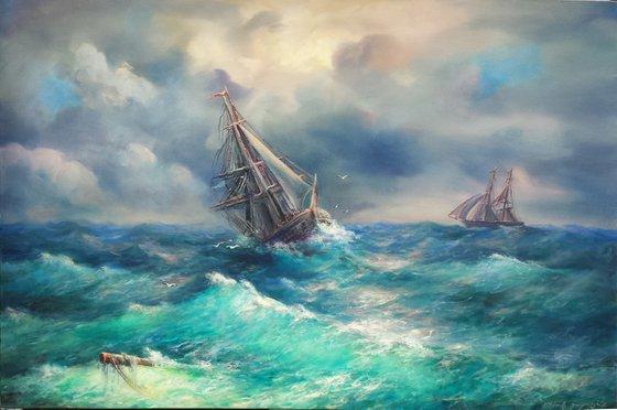 Restless sea(120x80cm, oil painting)