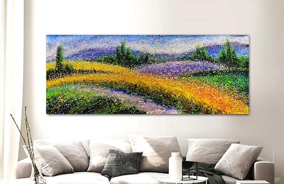 """Field of wheat abstraction Panorama Path in the field Wheat landscape - ROLLED - 31"""" x 79""""/ 80 x 200 cm."""
