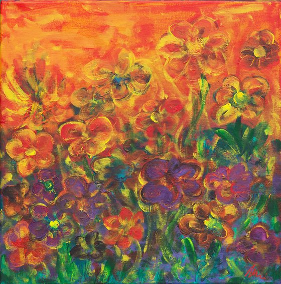 Flower garden at sunset - Acrylic floral painting