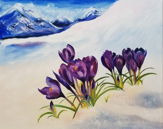 Crocuses in the Alps. Sunny Day in the Alps. Mothers Day Gift. Gift for Mom. Wall Art. Spectacular Oil Painting on Canvas. Home Decor.