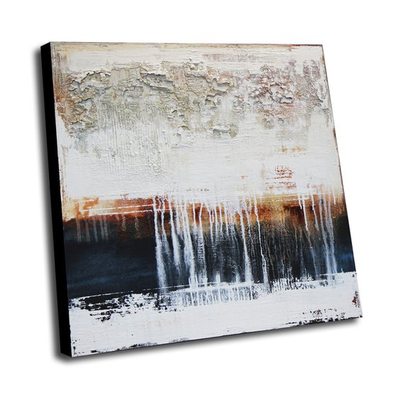 TIME IS MOVING * 90 x 90 CMS * ABSTRACT ACRYLIC PAINTING ON CANVAS * WHITE * RUST