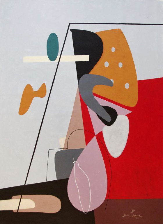 """""""Rendezvous with Polka dots"""" Abstract figurative Midcentury modern painting"""