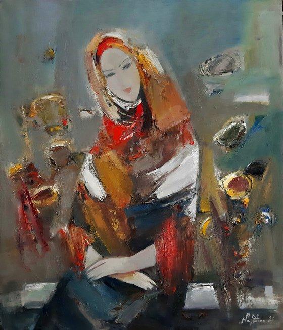 Bride-2 (50x60cm, oil/canvas, abstract portrait)