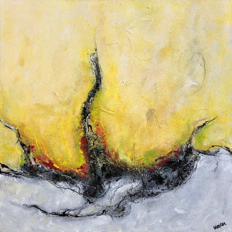 Fire Ice I 50 X 50 Cm I Colorful Abstract I Square