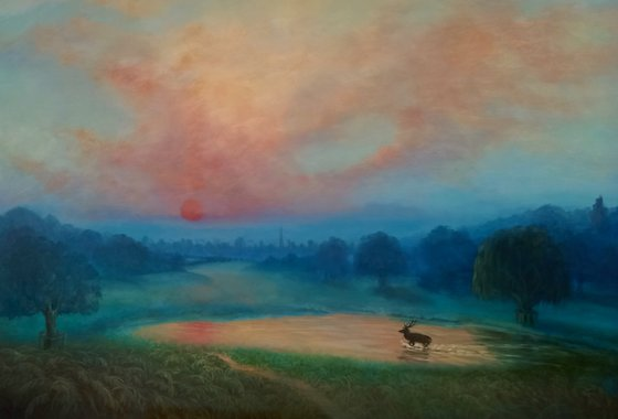 First Light, Richmond Park with view of City of London