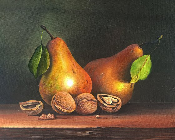 Still life-Pears, nuts-2 (24x30cm, oil painting, ready to hang)