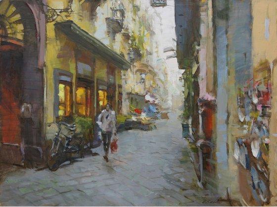 "Original Oil Painting on Canvas ""Street in Positano"""
