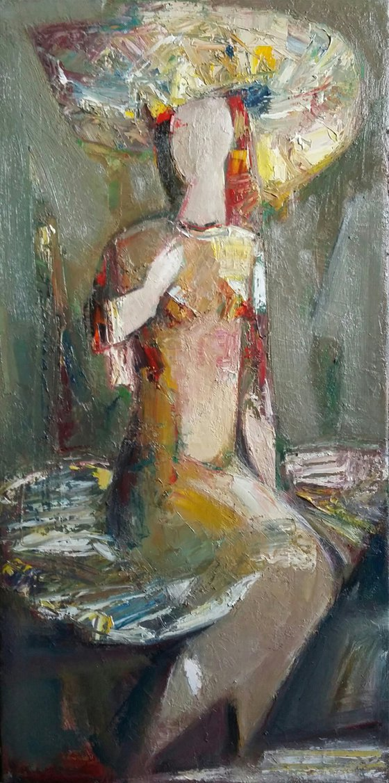 Lady in a hat  (33x70cm, oil/canvas, ready to hang)