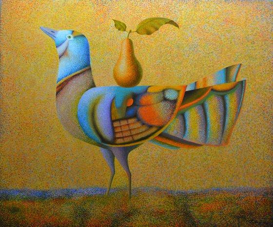 "Bird and Pear 30""x36"""