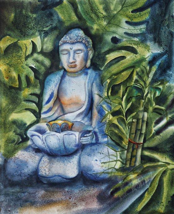 Jungle buddha - original meditation watercolor