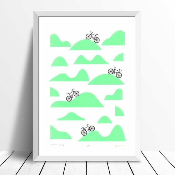 Mountain Cycling Print A3 Size in Retro Mint - Framed - FREE UK Delivery