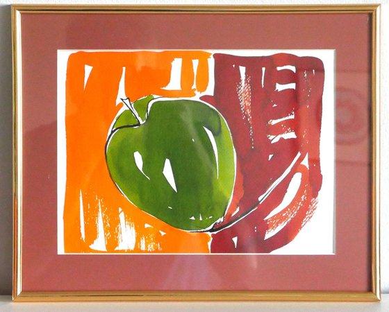 Apple - watercolor framed