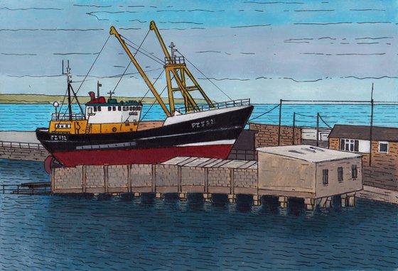 Trawler in for repair, Newlyn harbour