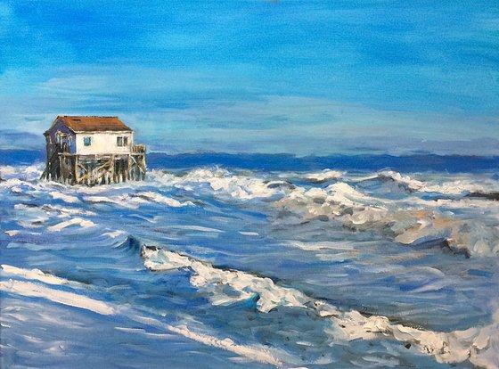 """""""Stilt house in rough surf"""""""