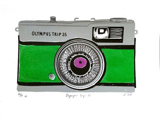 OLYMPUS TRIP 35 [GREEN] - Limited-edition, vintage camera screenprint