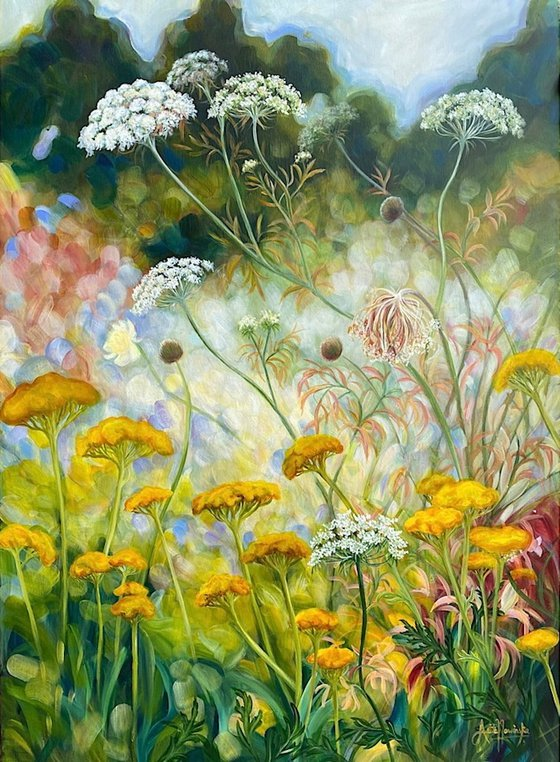 'Growth'- Wild garden painting with Achillea & cow parsley