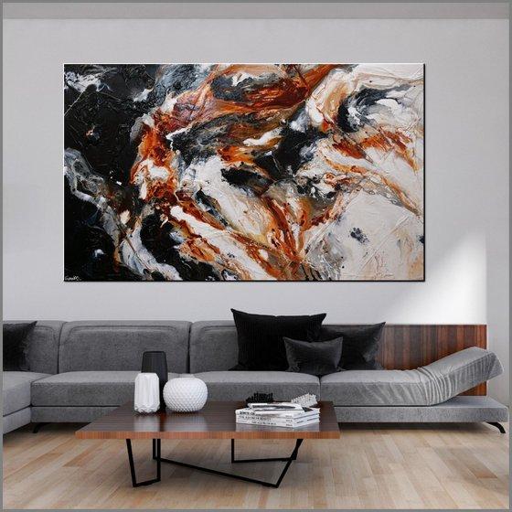 Peppered Oxide 250cm x 150cm White Black Oxide Abstract Art