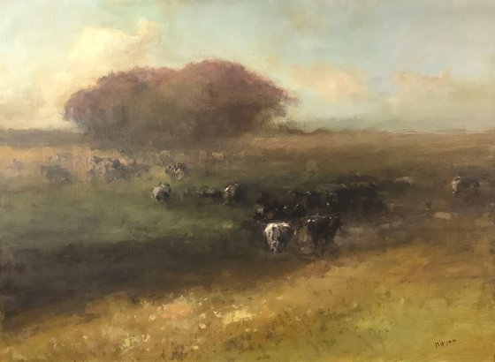 Cows in the Meadow, Original oil Painting, Handmade arworkt, Impressionism, Signed, One of a Kind